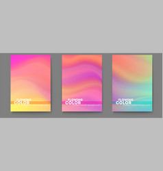 set posters with colorful liquid shape vector image