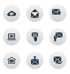 Set simple mailing icons elements laptop vector