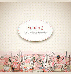 sewing tools and seamless border design template vector image