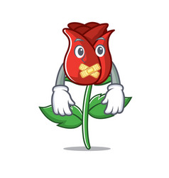 Silent red rose mascot cartoon vector