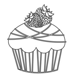 Silhouette sketch cupcake with two strawberry vector