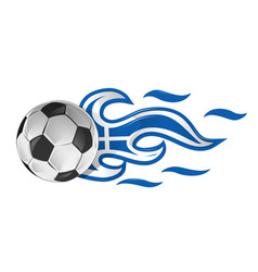 soccer ball on fire with greek flag vector image