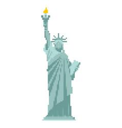 Statue of liberty pixel art 8 bit landmark vector