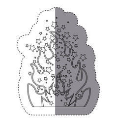 Sticker silhouette fire flame burning vector