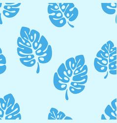 summer seamless pattern - blue leaves monstera vector image