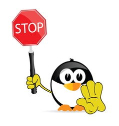 sweet and cute penguin with sign stop vector image