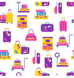 travel bags seamless pattern in flat style vector image