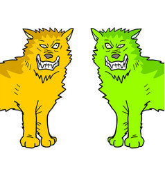 two color wolfs vector image