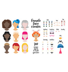 unique objects to create female face vector image