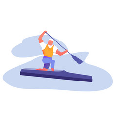 Water sports active recreation flat vector