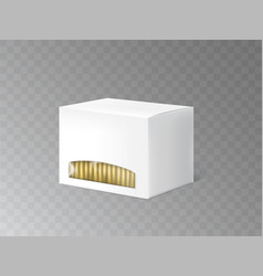 White container with tea bags realistic vector