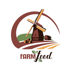 windmill stylized symbol farm food emblem or vector image