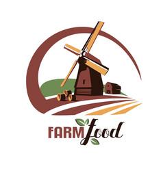 Windmill stylized symbol farm food emblem vector