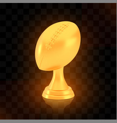 winner american football cup award golden trophy vector image