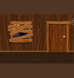 Wooden house interior room with old vector