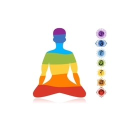 Yoga lotus pose with chakras for your design vector