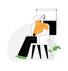Young guy sitting or relaxing in armchair vector