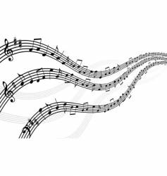 abstract musical lines with notes vector image vector image