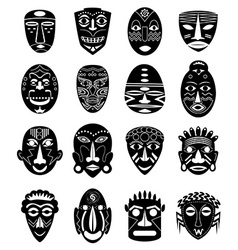 Africa tribal mask icons set vector image vector image