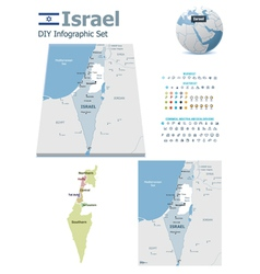 Israel maps with markers vector image vector image