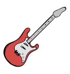 red electric guitar icon cartoon vector image