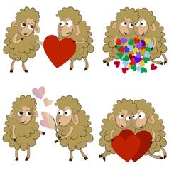 Set of funny couples of sheeps for Valentine vector image vector image