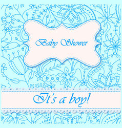 Baby-shower-with-flowers-boy vector image