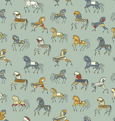 Ethnics horse galloping colored seamless texture vector