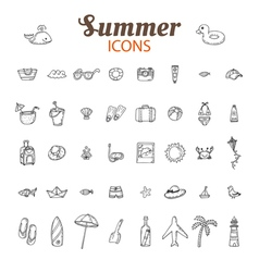Hand drawn summer icon set Beach icons collection vector image vector image