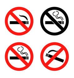 no smoking icons set flat design vector image vector image