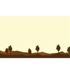 Silhouette of tree on brown backgrounds vector image