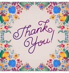 Thank You Abstract Floral Background Callygraphy vector image vector image