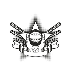 baseball mask in star vector image vector image