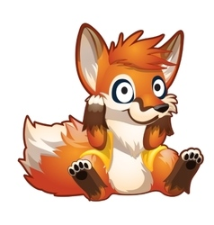 Brooding red cartoon sitting fox vector image vector image