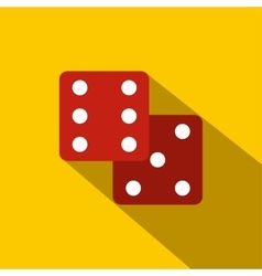 Red dice flat icon vector image