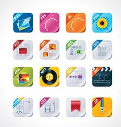 square file labels icon set vector image