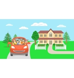 Family summer vacation trip background with house vector image vector image