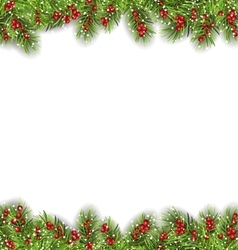 Holiday Frame with Fir Branches and Holly Berries vector image
