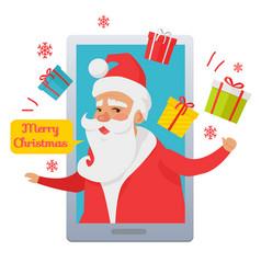 merry christmas santa claus inside cellphone vector image