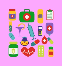 set trendy flat medical icons - vector image vector image