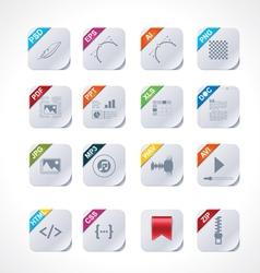 Simple square file labels icon set vector