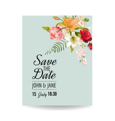 wedding card with watercolor lily flowers vector image
