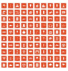100 windmills icons set grunge orange vector