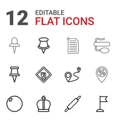 12 pin icons vector image