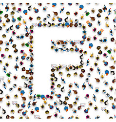 A group of people in of english alphabet letter f vector