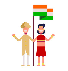 A happy couple is standing by the flag of india vector
