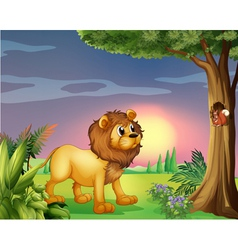 A lion watching squirrel vector