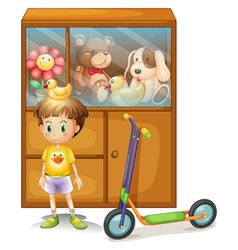 A young boy with his scooter and his toys in a vector
