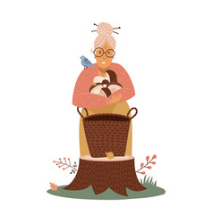 An old woman puts harvested mushrooms vector