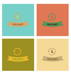 Assembly flat icons history lesson vector